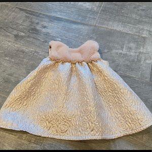 Children's place fur rose gold dress